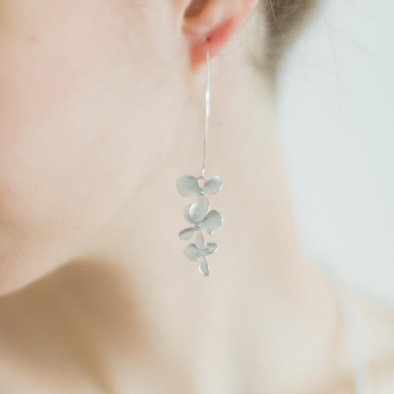Silver Orchid Flower Earrings