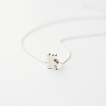 Silver Teddy Bear Necklace