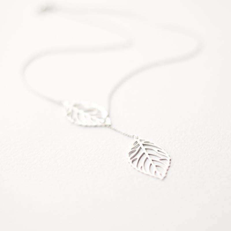 Silver Two Leaves Necklace