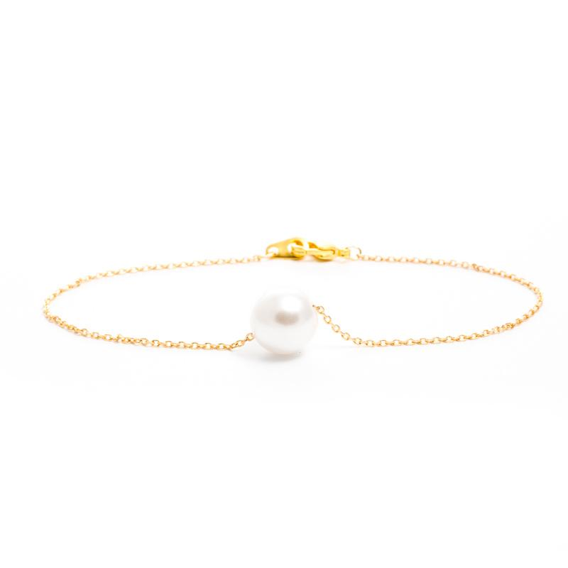 Single Pearl Bracelet in Gold