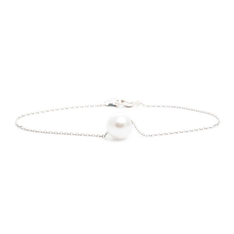 Single Pearl Bracelet in Silver