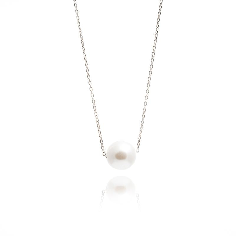 Single Pearl Necklace in Silver