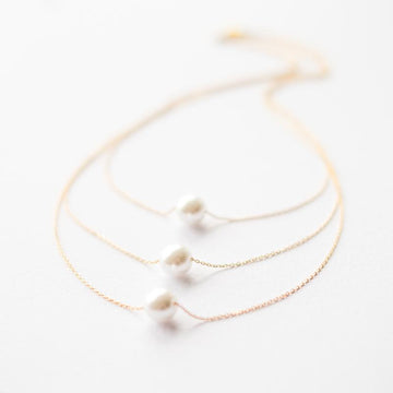 Three Layers Gold Pearl Necklace