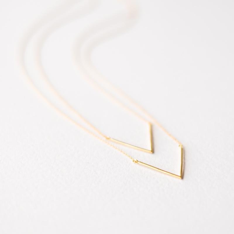 Two Layer Triangle Gold Necklace