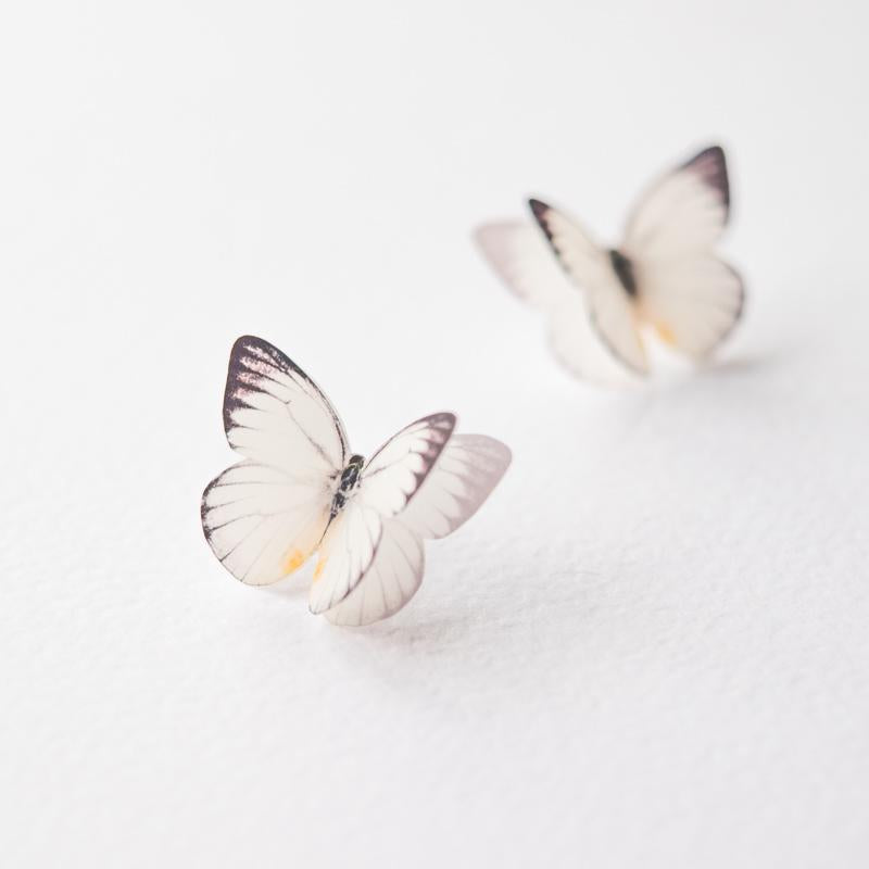 White Butterfly Stud Earrings