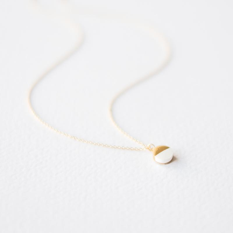 White Gold Dipped Circle Necklace