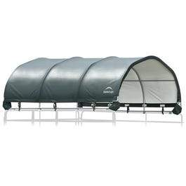 Corral Shelter, 12-Ft. x 12-Ft., Green Cover, Steel Frame, Water Resistant, Panels Not Included