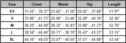 One Piece Backless Tracksuit - Size Chart
