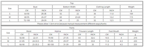 Seamless Yoga Suit - Size Chart