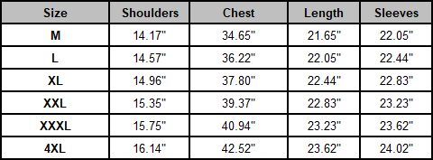Hooded Ultralight Duck Down Jacket - Size Chart