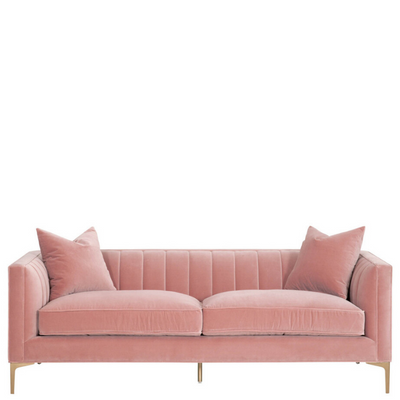 "84"" Channel Sofa (Pink Velvet) - Sarah Virginia Home"