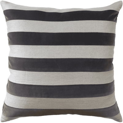 Velvet & Linen Stripe Pillow (Taupe) - Sarah Virginia Home