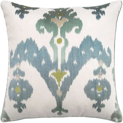 Embroidered Ikat Pillow (Aqua) - Sarah Virginia Home