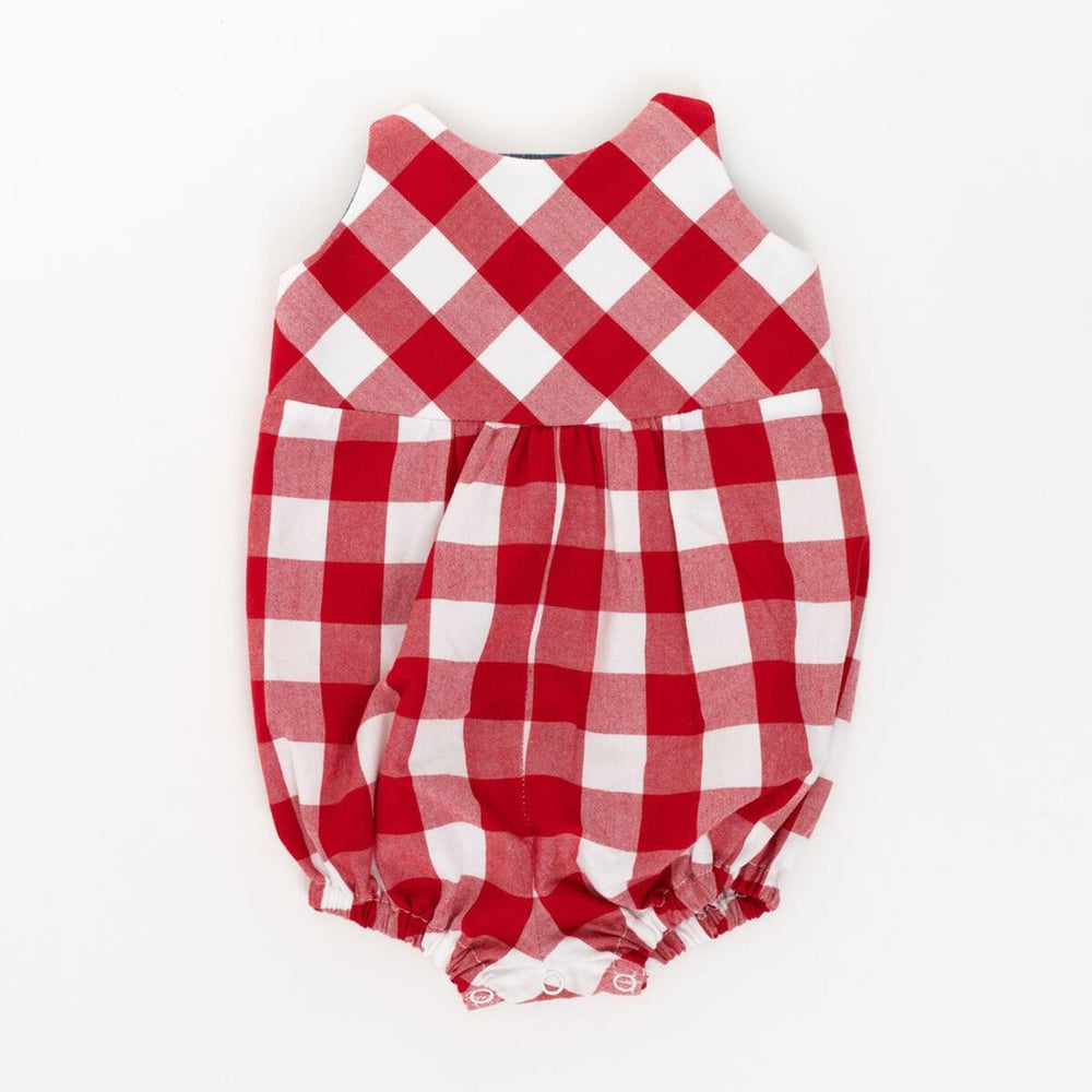 Knotted Romper in Red Gingham