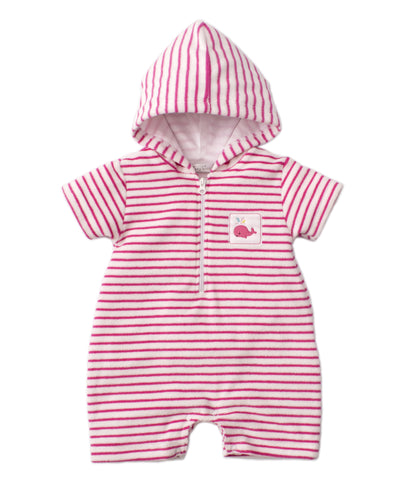 Whale of a Time Terry Romper, Fuschia
