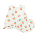 Plaid Peaches Ruffle Top and Bloomer, Tropical Peach