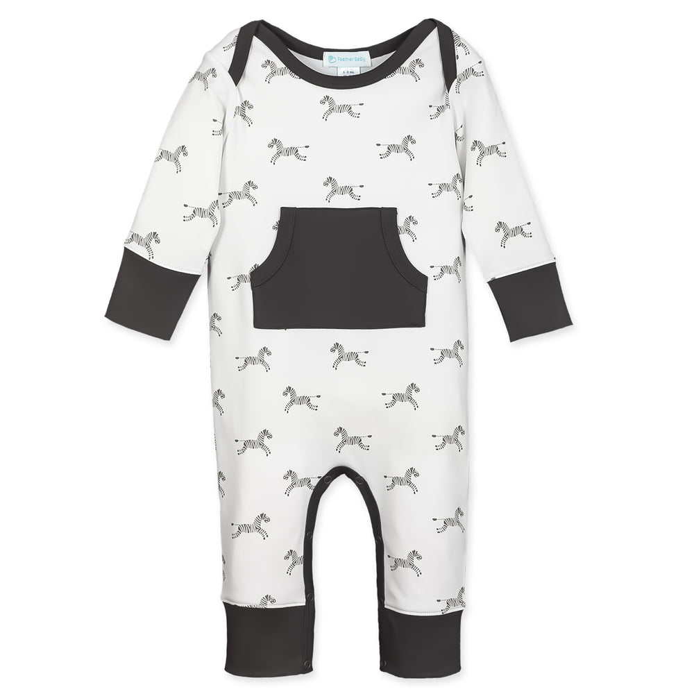 Kangaroo Romper, Zebras on White