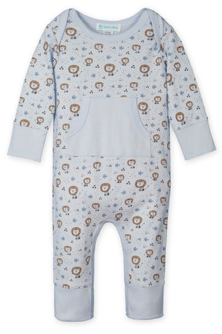Kangaroo Romper - Lions on Baby Blue