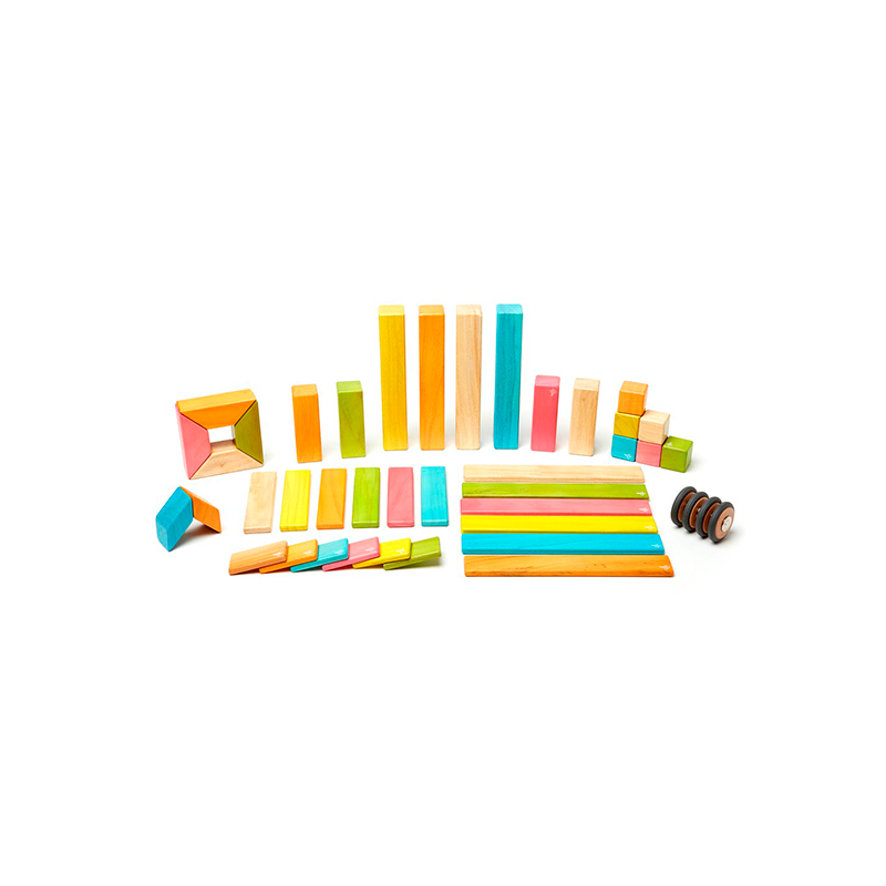 Tegu 42 Piece Magnetic Wooden Block Set - Tints