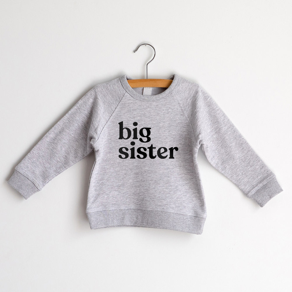 Big Sister Sweatshirt, Heather Grey with Black Ink