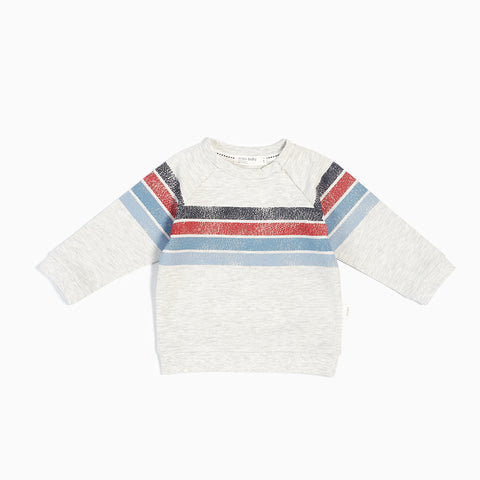 Striped Knit Sweatshirt, Heather Gray