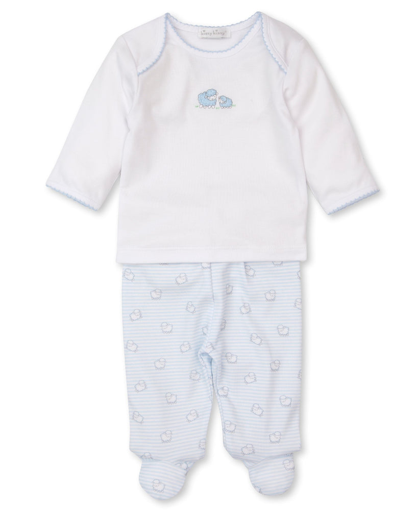 Sheep Scramble Footed Pant Set, Light Blue