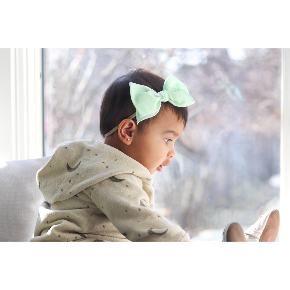 Mint Small-Hemmed-Edge Hair Bow