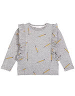 School Pencils Ruffled Sweatshirt, Dark Heather Gray