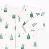 Festive Trees Footed Onesie, Off White