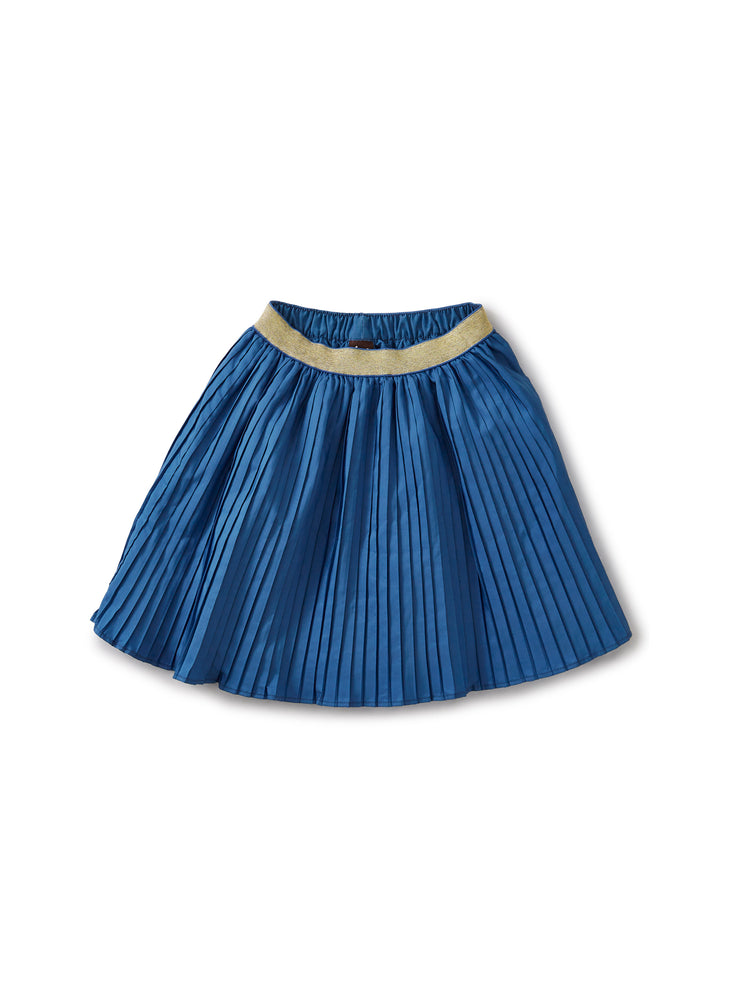 Metallic Waist Pleated Skirt, Batik Blue