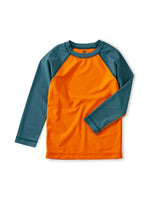 Colorblock Long Sleeve Rash Guard, Harvest Pumpkin