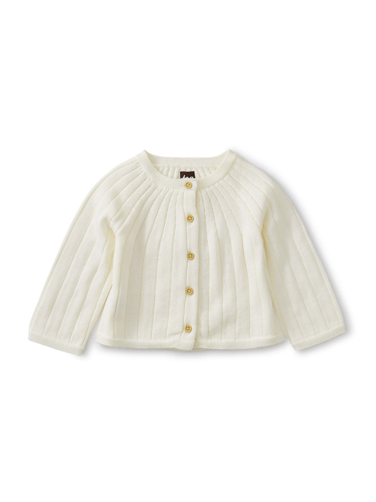 Ribbed Baby Cardigan, Chalk