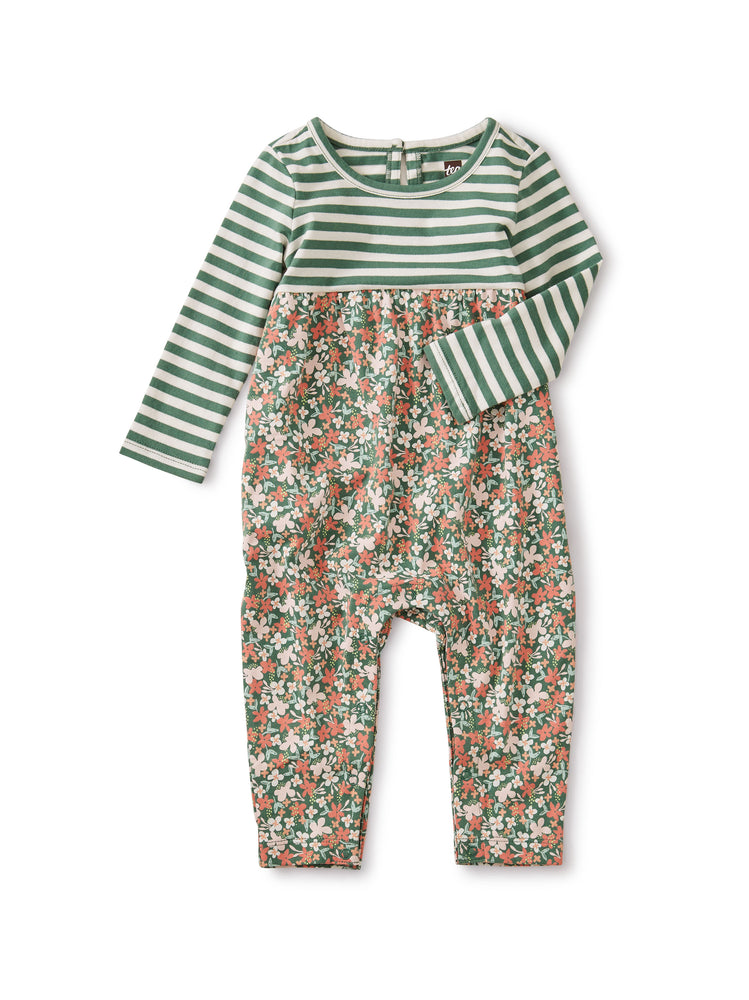 Two-Tone Romper, Cyprus Floral - Sagebrush Tea Collection