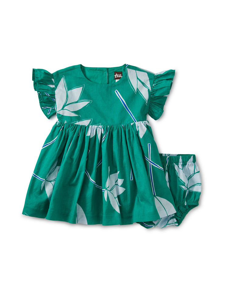 Ruffle Sleeve Baby Dress,Lotus Flower - Viridis