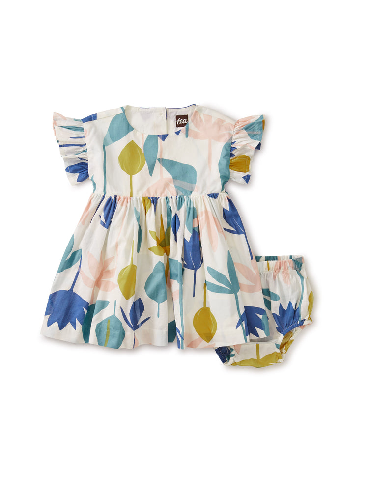Ruffle Sleeve Baby Dress, Egyptian Floral