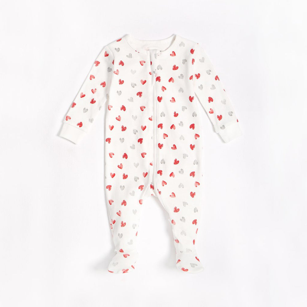 Hearts Footed Onesie