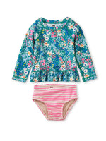 Rash Guard Swim Set, Garden Blues