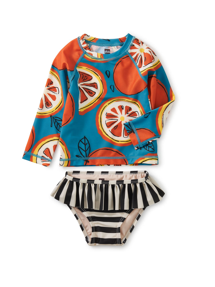 Rash Guard Swim Set, Fresh Oranges