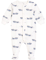 Cannes Footed Onesie, Off White