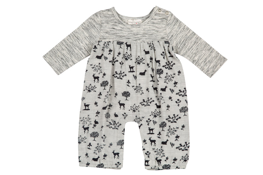 Animal Shadows Romper, Grey