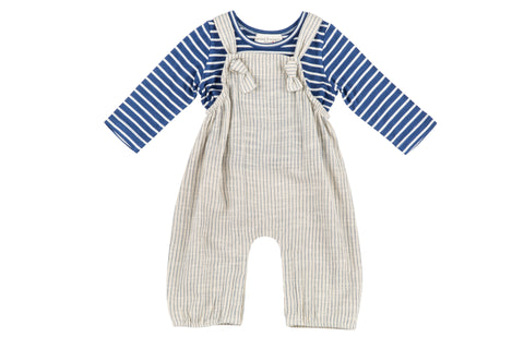 Take a Hike Overall and Indigo Striped Tee