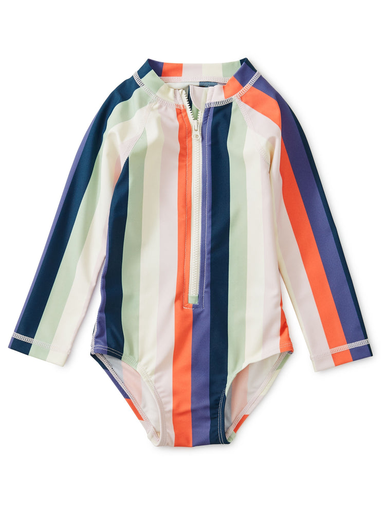 Striped Rash Guard One-Piece, Striped Right