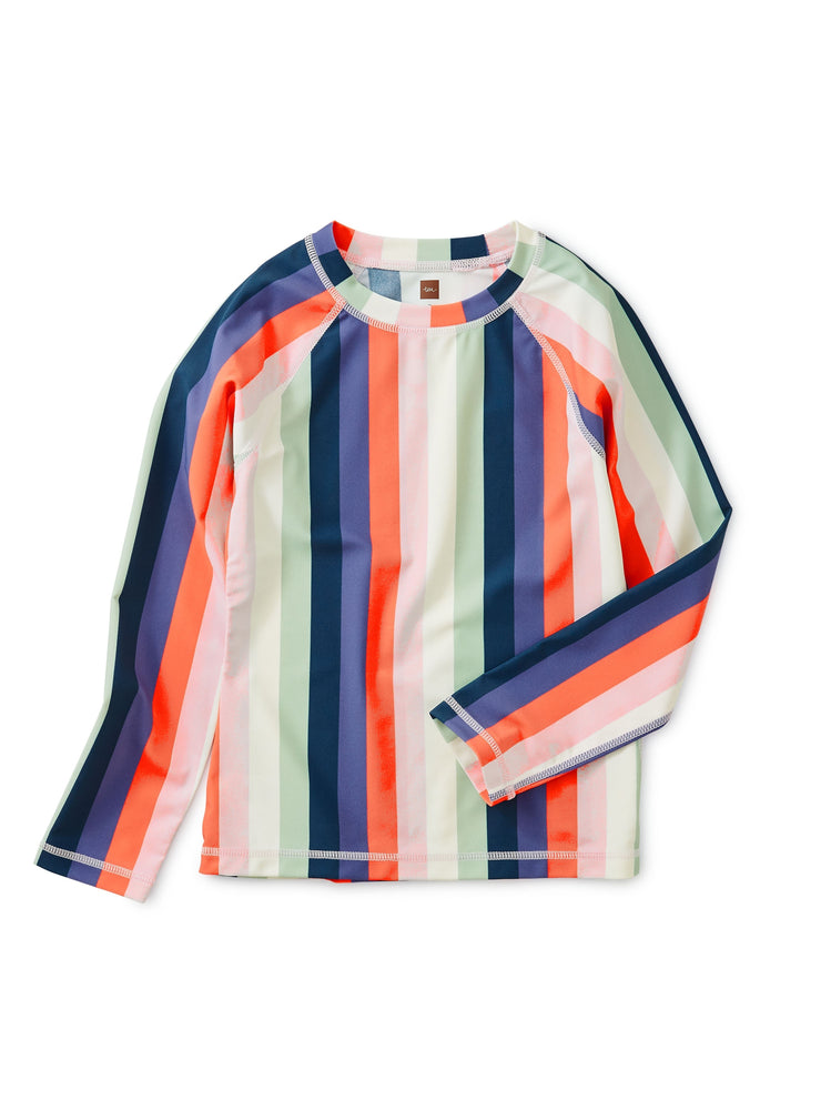 Printed Long Sleeve Rash Guard, Striped Right