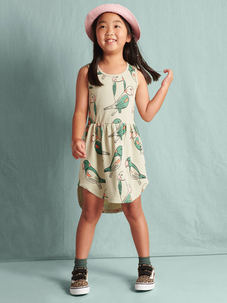 Skirted Tank Dress, Parakeets - Desert Sage