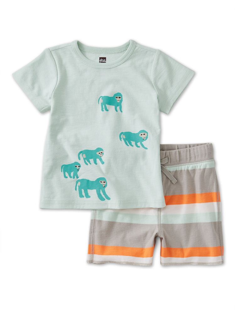 Babboon Baby Set, Seafoam