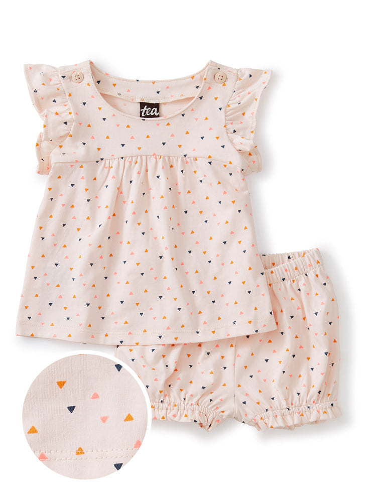 Button Shoulder Baby Set, Confetti - Crystal Pink