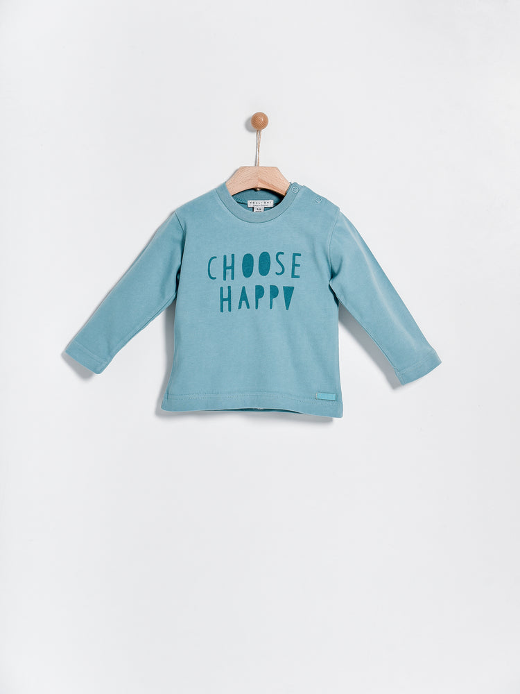 Choose Happy Long Sleeve Tee, Petrol