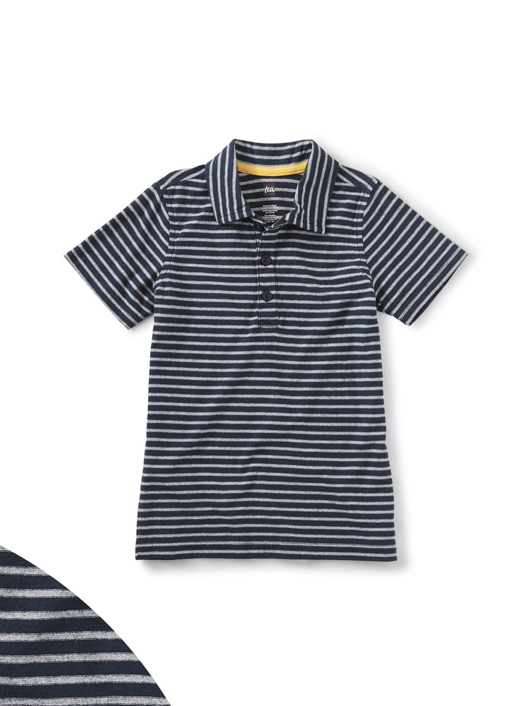 Striped Polo, Heritage Blue