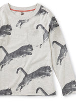 Tea Collection Printed Tee with Rib Pocket, Peruvian Panther