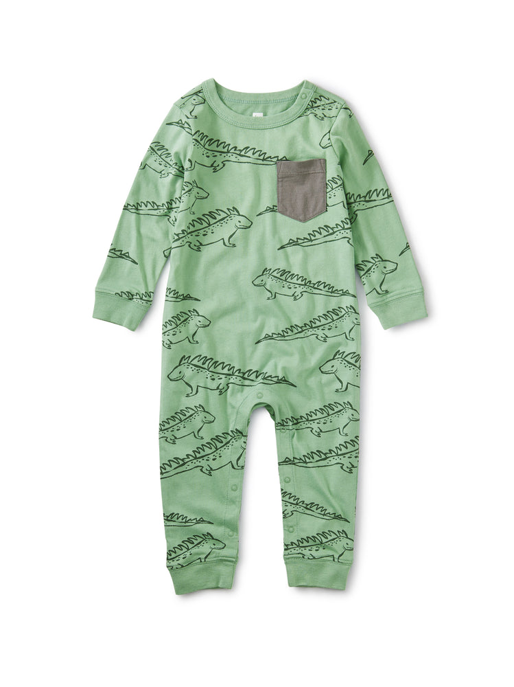 Printed Pocket Romper, Iguana